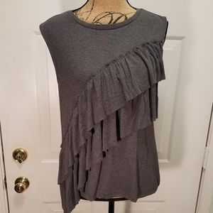 J Crew Grey ruffled tank